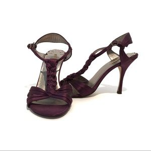 Max Studio Braided Plum Peep Toe Heels Size 8.5